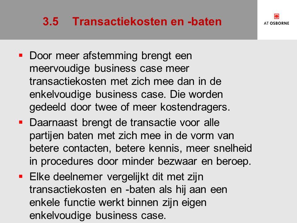 3.5Transactiekosten en -baten  Door meer afstemming brengt een meervoudige business case meer transactiekosten met zich mee dan in de enkelvoudige business case.