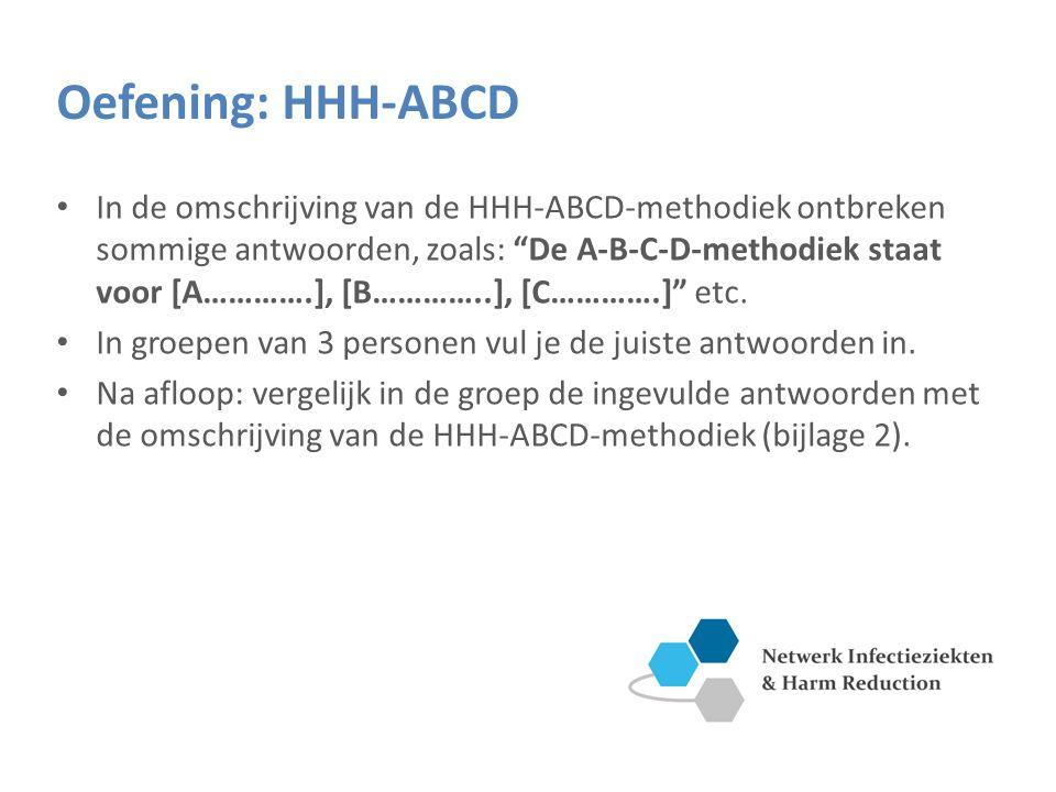 Oefening: HHH-ABCD In de omschrijving van de HHH-ABCD-methodiek ontbreken sommige antwoorden, zoals: De A-B-C-D-methodiek staat voor [A………….], [B…………..], [C………….] etc.