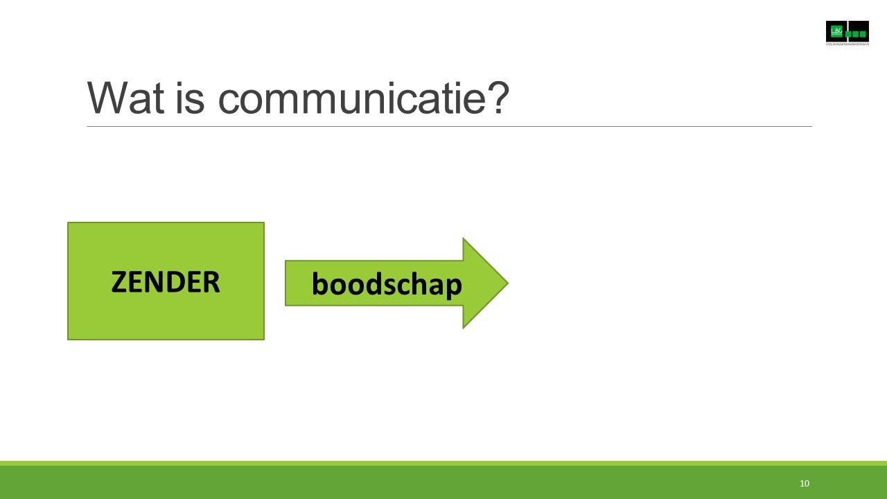 Wat is communicatie? ZENDER boodschap 10