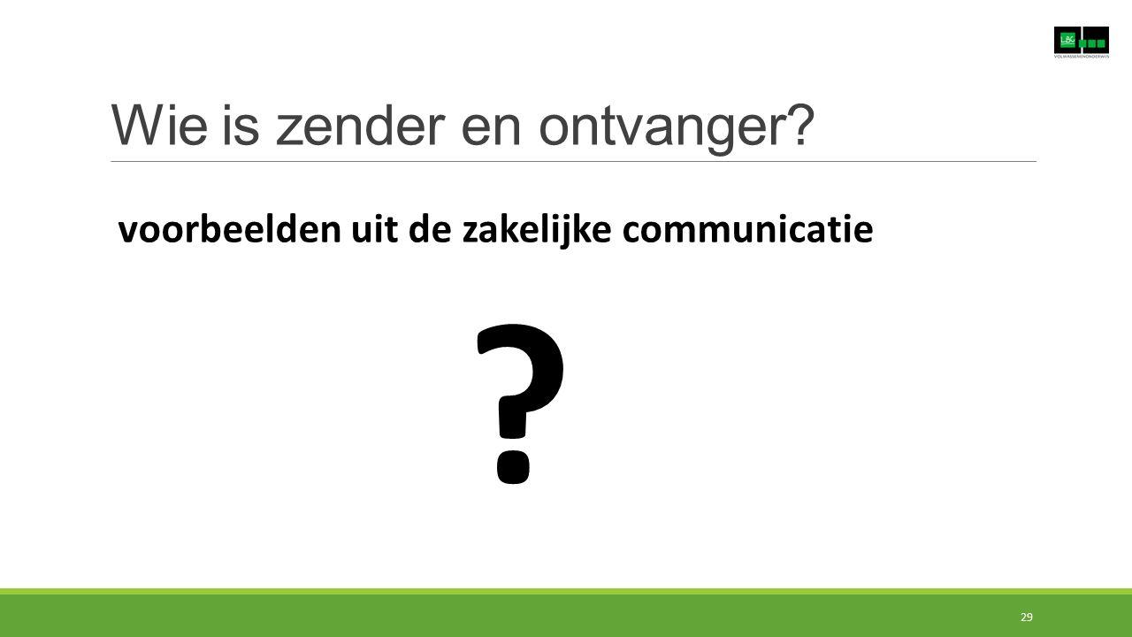 Wie is zender en ontvanger? voorbeelden uit de zakelijke communicatie ? 29