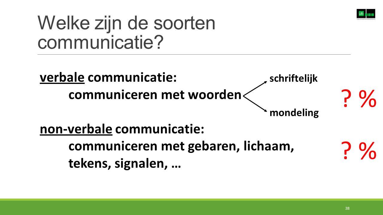 Welke zijn de soorten communicatie? verbale communicatie: schriftelijk communiceren met woorden mondeling non-verbale communicatie: communiceren met g
