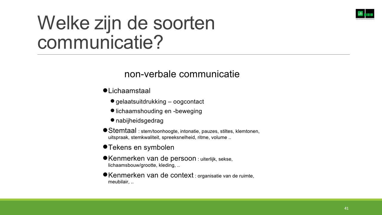Welke zijn de soorten communicatie? 41