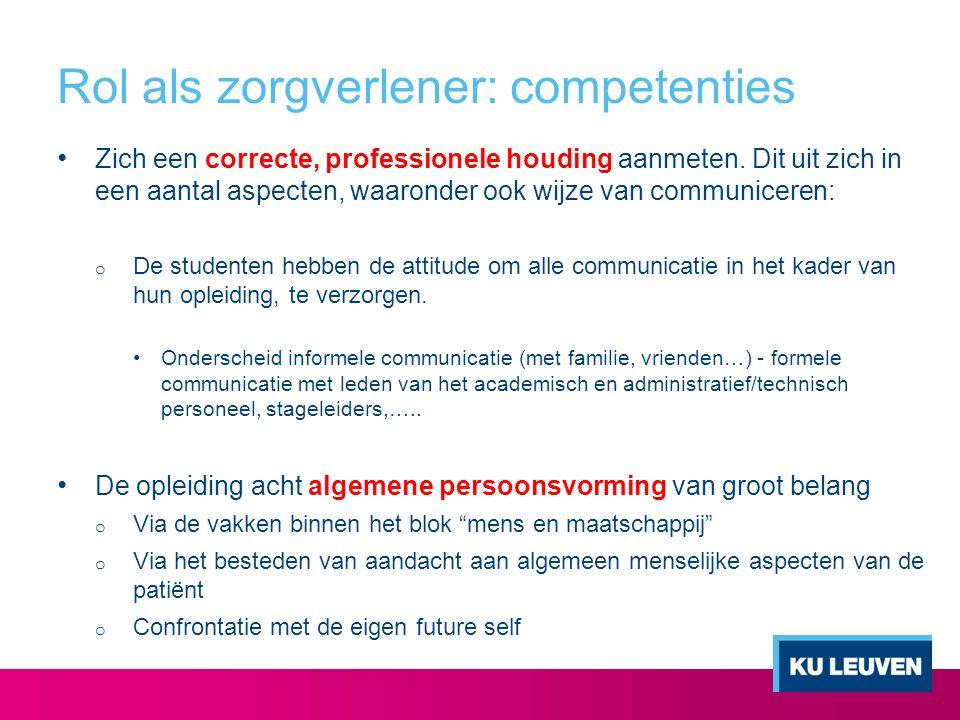Rol als zorgverlener: competenties Zich een correcte, professionele houding aanmeten. Dit uit zich in een aantal aspecten, waaronder ook wijze van com