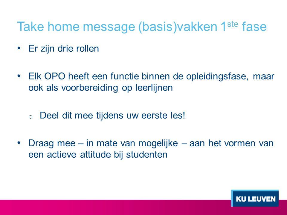 Take home message (basis)vakken 1 ste fase Er zijn drie rollen Elk OPO heeft een functie binnen de opleidingsfase, maar ook als voorbereiding op leerlijnen o Deel dit mee tijdens uw eerste les.