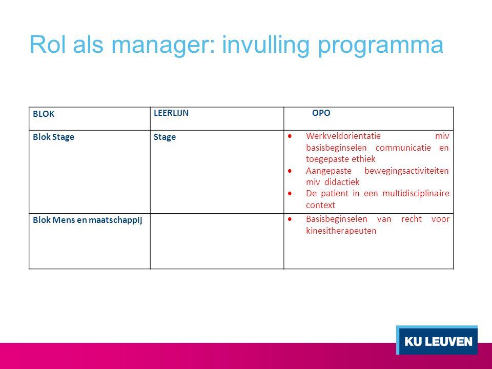 Rol als manager: invulling programma BLOK LEERLIJNOPO Blok StageStage  Werkveldorientatie miv basisbeginselen communicatie en toegepaste ethiek  Aan