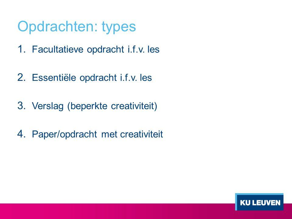 Opdrachten: types 1.Facultatieve opdracht i.f.v. les 2.
