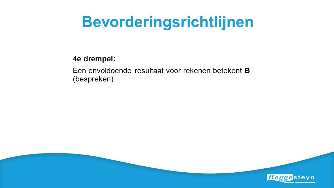 Bevorderingsrichtlijnen 4e drempel: Een onvoldoende resultaat voor rekenen betekent B (bespreken)