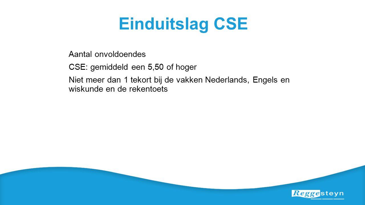 Einduitslag CSE Aantal onvoldoendes CSE: gemiddeld een 5,50 of hoger Niet meer dan 1 tekort bij de vakken Nederlands, Engels en wiskunde en de rekentoets
