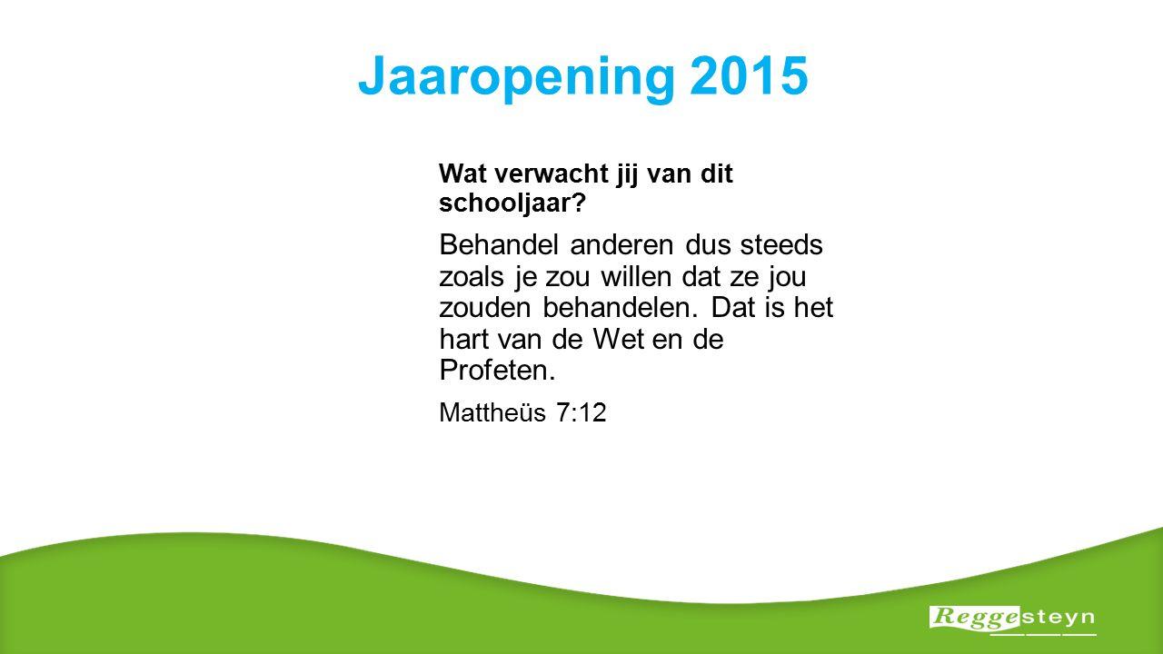 Jaaropening 2015 Wat verwacht jij van dit schooljaar.