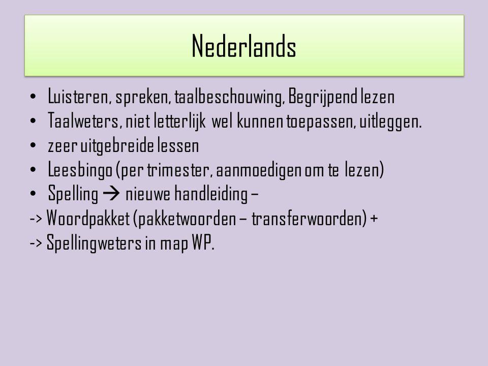 Nederlands Luisteren, spreken, taalbeschouwing, Begrijpend lezen Taalweters, niet letterlijk wel kunnen toepassen, uitleggen. zeer uitgebreide lessen