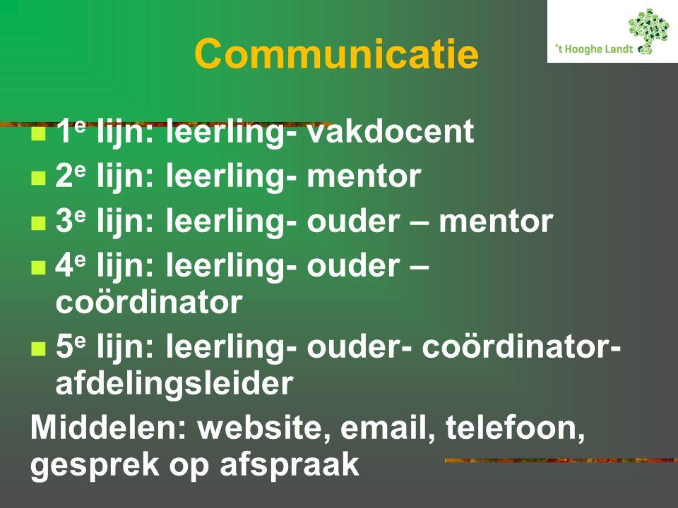 Communicatie 1 e lijn: leerling- vakdocent 2 e lijn: leerling- mentor 3 e lijn: leerling- ouder – mentor 4 e lijn: leerling- ouder – coördinator 5 e lijn: leerling- ouder- coördinator- afdelingsleider Middelen: website, email, telefoon, gesprek op afspraak