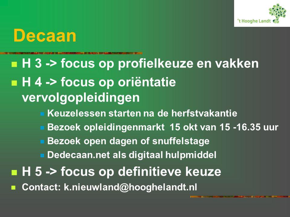 Decaan H 3 -> focus op profielkeuze en vakken H 4 -> focus op oriëntatie vervolgopleidingen Keuzelessen starten na de herfstvakantie Bezoek opleidingenmarkt 15 okt van 15 -16.35 uur Bezoek open dagen of snuffelstage Dedecaan.net als digitaal hulpmiddel H 5 -> focus op definitieve keuze Contact: k.nieuwland@hooghelandt.nl