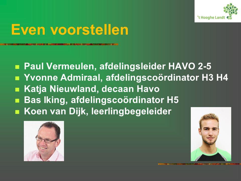 Even voorstellen Paul Vermeulen, afdelingsleider HAVO 2-5 Yvonne Admiraal, afdelingscoördinator H3 H4 Katja Nieuwland, decaan Havo Bas Iking, afdelingscoördinator H5 Koen van Dijk, leerlingbegeleider