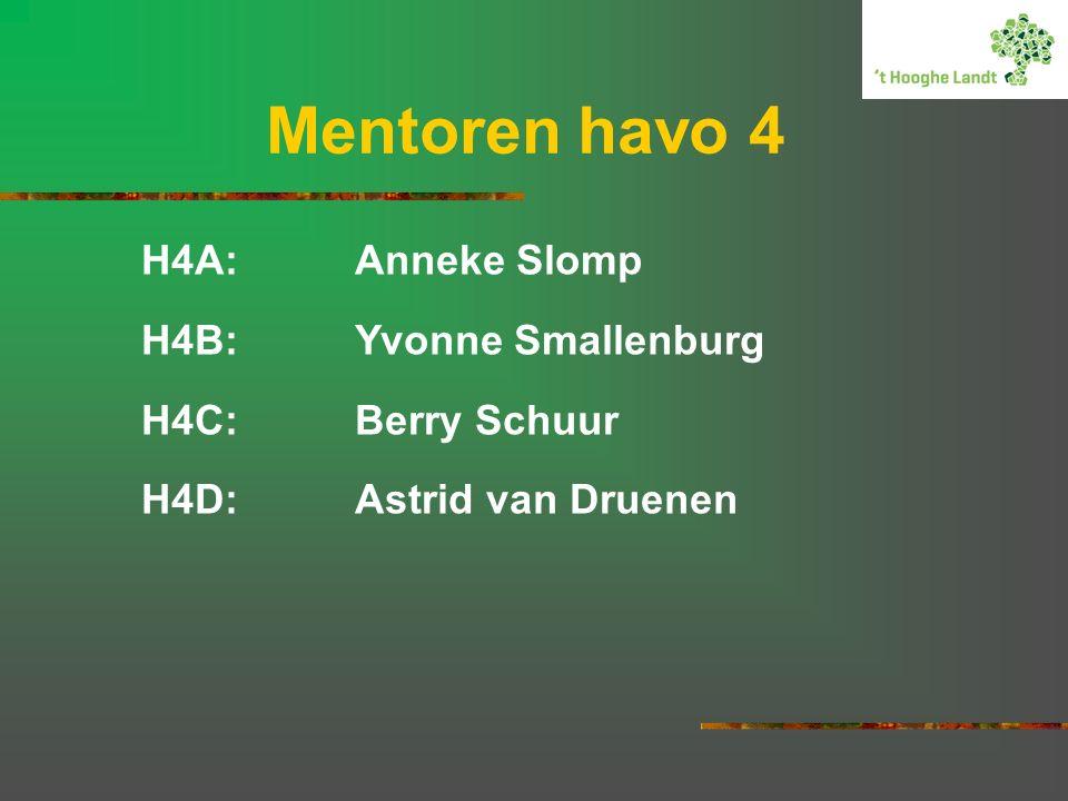 H4A:Anneke Slomp H4B:Yvonne Smallenburg H4C:Berry Schuur H4D:Astrid van Druenen Mentoren havo 4