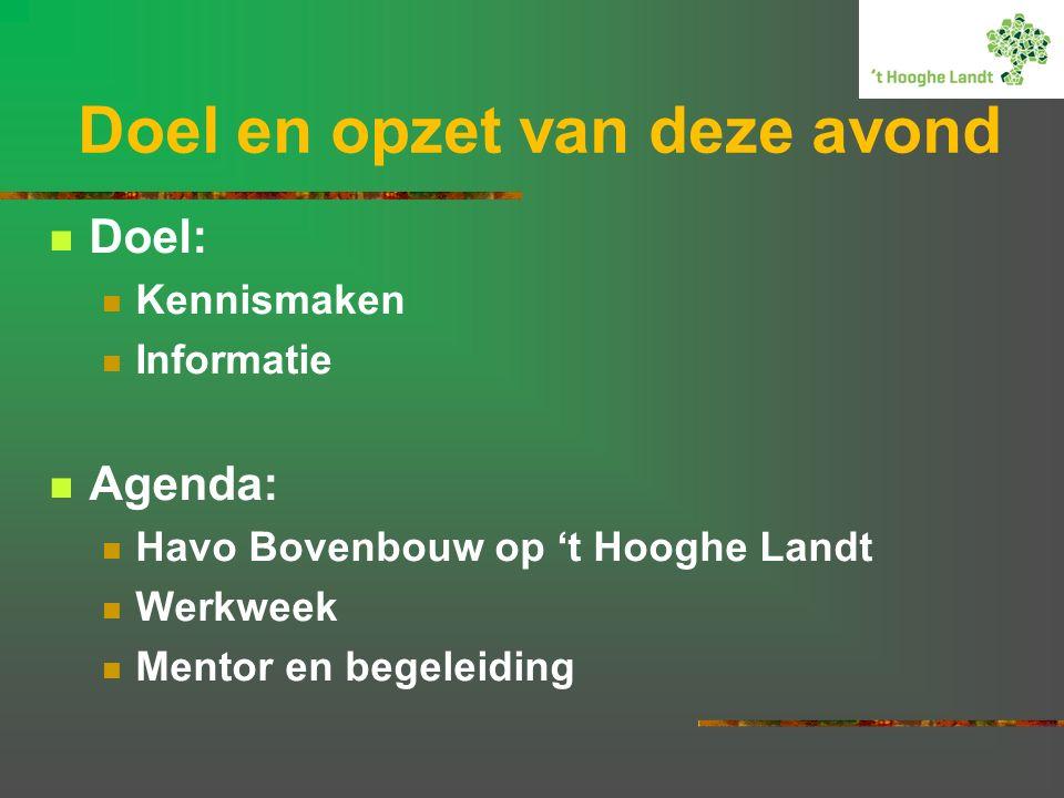 Doel en opzet van deze avond Doel: Kennismaken Informatie Agenda: Havo Bovenbouw op 't Hooghe Landt Werkweek Mentor en begeleiding