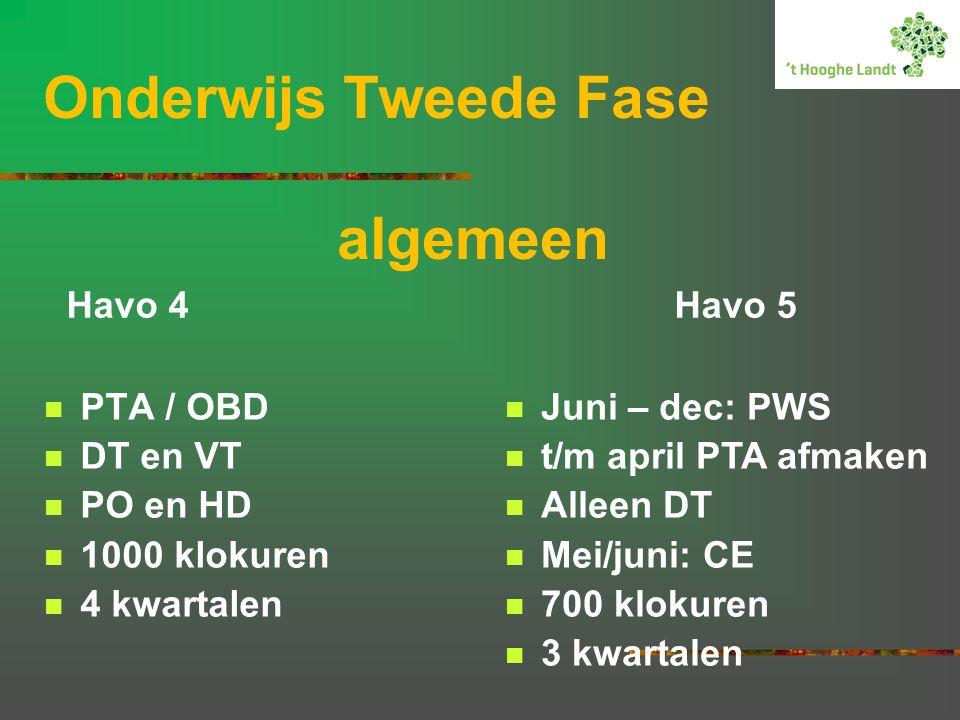 Onderwijs Tweede Fase algemeen PTA / OBD DT en VT PO en HD 1000 klokuren 4 kwartalen Juni – dec: PWS t/m april PTA afmaken Alleen DT Mei/juni: CE 700 klokuren 3 kwartalen Havo 4 Havo 5