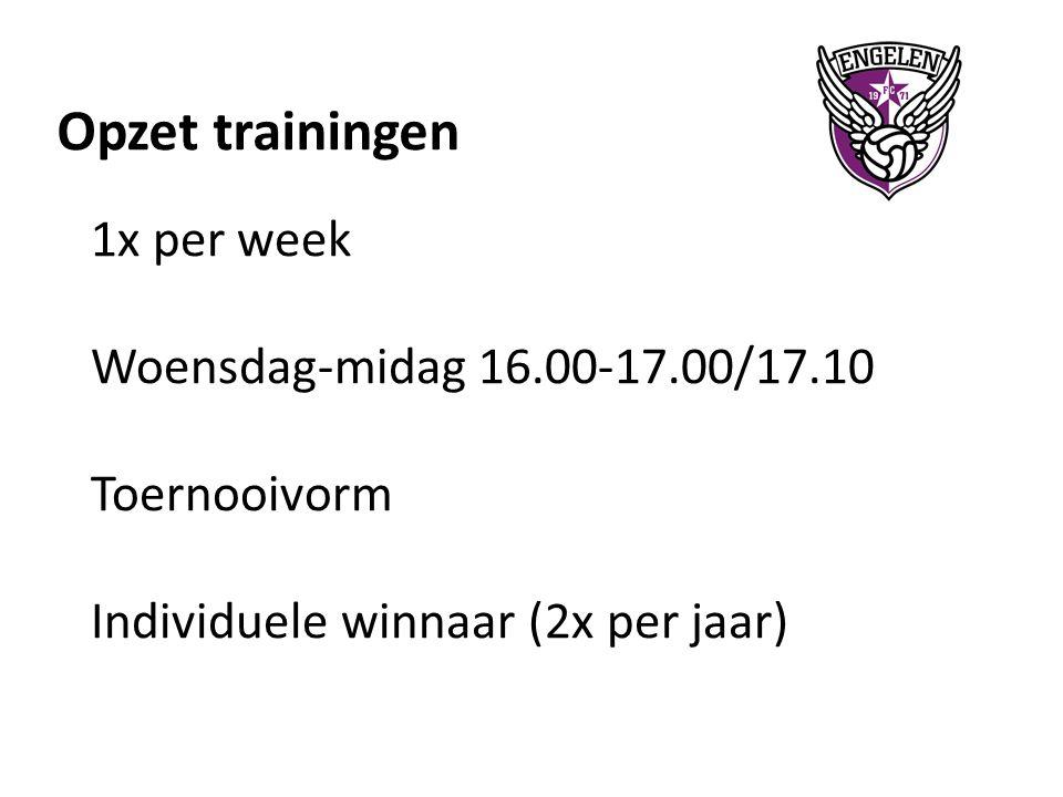 Opzet trainingen 1x per week Woensdag-midag 16.00-17.00/17.10 Toernooivorm Individuele winnaar (2x per jaar)