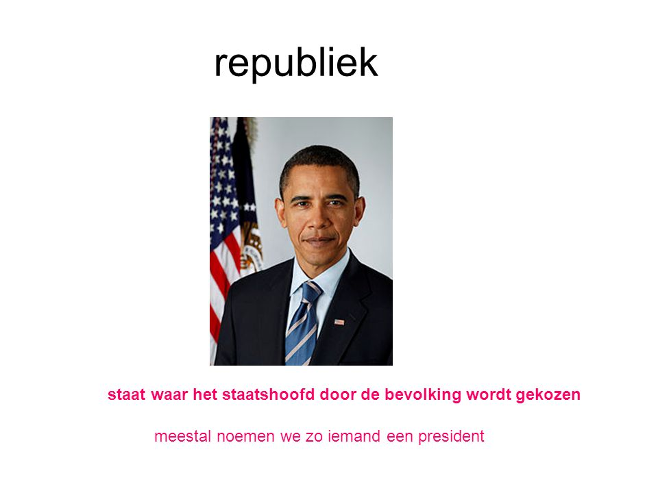 republiek staat waar het staatshoofd door de bevolking wordt gekozen meestal noemen we zo iemand een president