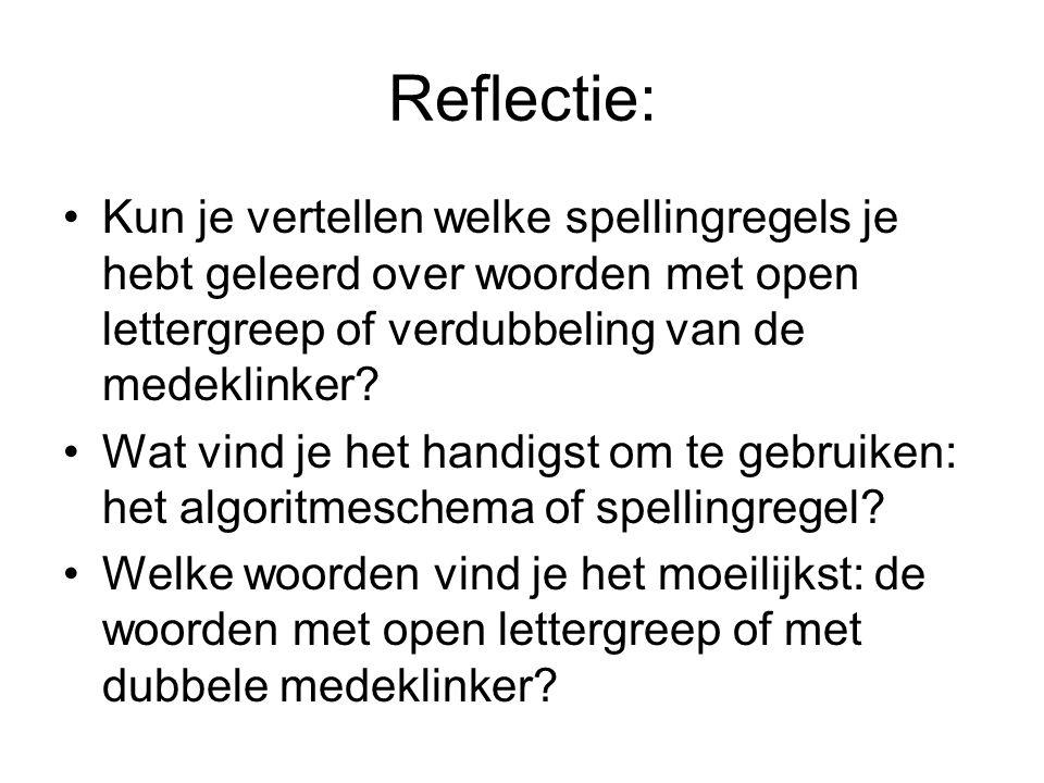 Reflectie: Kun je vertellen welke spellingregels je hebt geleerd over woorden met open lettergreep of verdubbeling van de medeklinker? Wat vind je het