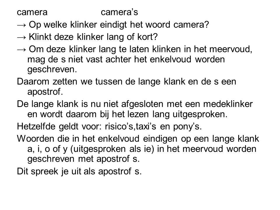 cameracamera's → Op welke klinker eindigt het woord camera? → Klinkt deze klinker lang of kort? → Om deze klinker lang te laten klinken in het meervou
