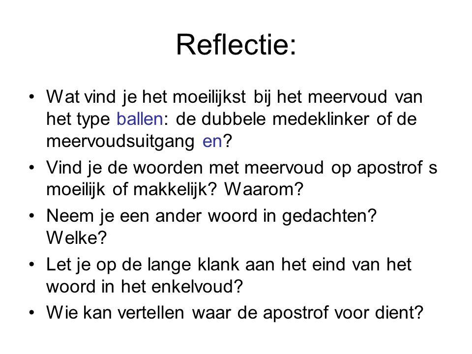 Reflectie: Wat vind je het moeilijkst bij het meervoud van het type ballen: de dubbele medeklinker of de meervoudsuitgang en? Vind je de woorden met m