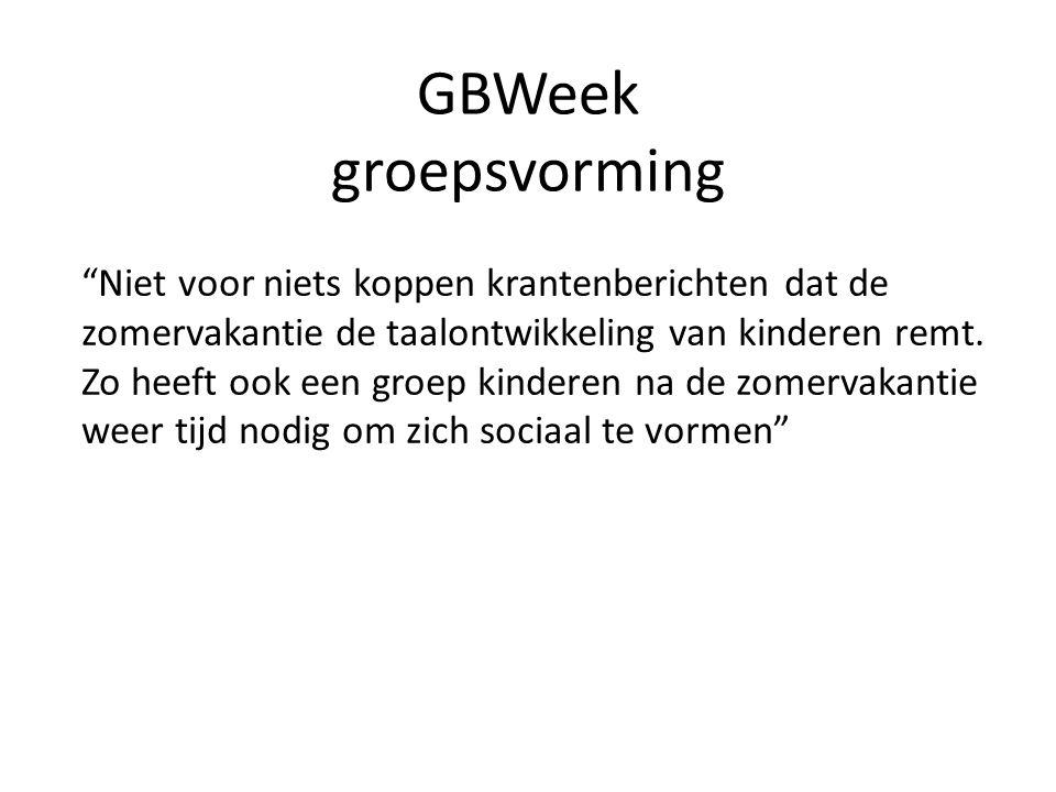 GBWeek groepsvorming Wat we nodig hebben: -Goede relatie ouders-kind-school -De basisbehoefte volgens Maslow -Kennis van groepsprocessen, sociale waardering en acceptatie -Doelgerichte groepsbevorderende activiteiten -Reflectie en evaluatie