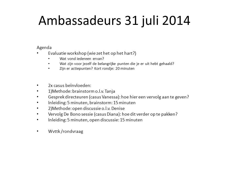 Ambassadeurs 31 juli 2014 Agenda Evaluatie workshop (wie zet het op het hart?) Wat vond iedereen ervan.