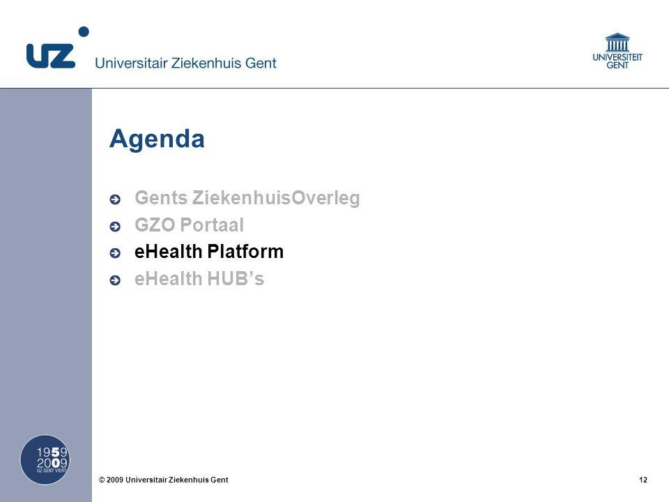 12© 2009 Universitair Ziekenhuis Gent Agenda Gents ZiekenhuisOverleg GZO Portaal eHealth Platform eHealth HUB's