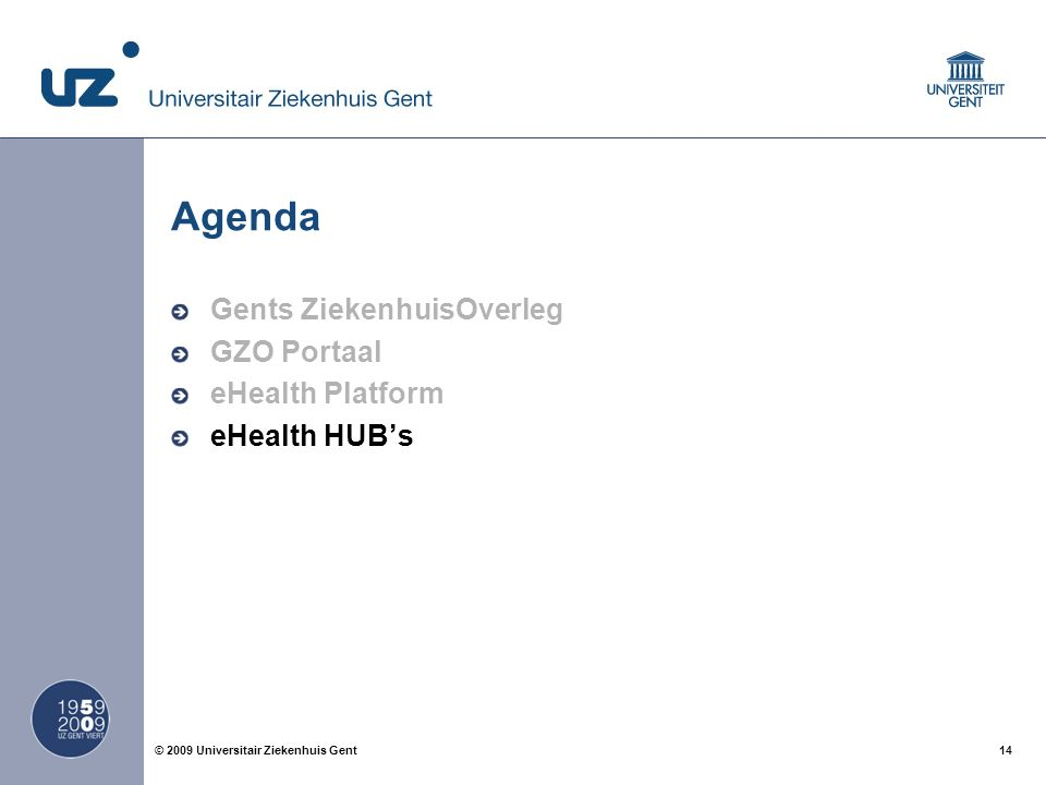 14© 2009 Universitair Ziekenhuis Gent Agenda Gents ZiekenhuisOverleg GZO Portaal eHealth Platform eHealth HUB's