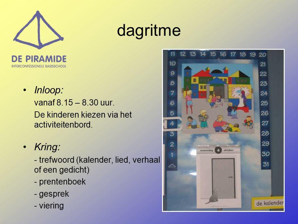 dagritme Inloop: vanaf 8.15 – 8.30 uur.De kinderen kiezen via het activiteitenbord.