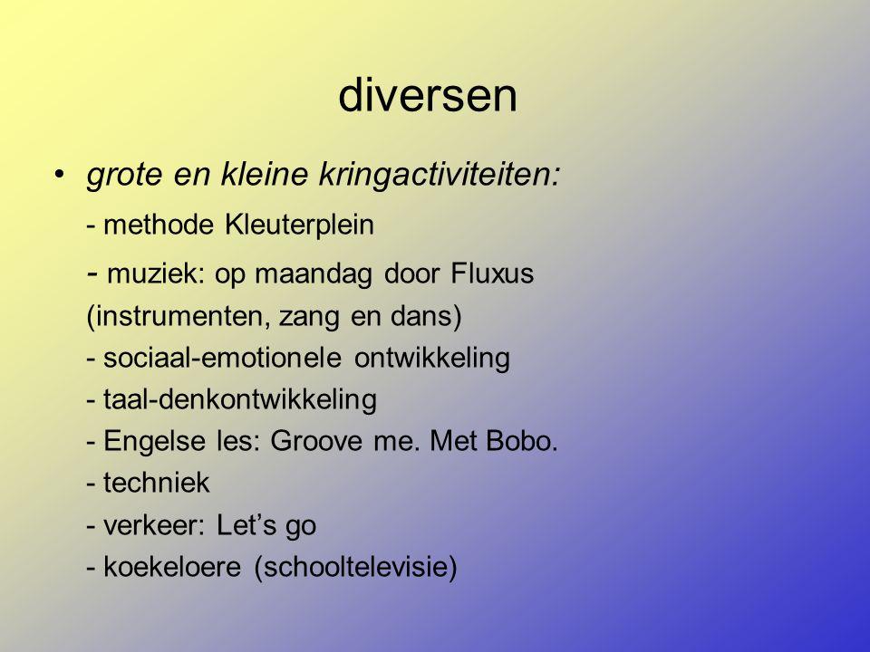 diversen grote en kleine kringactiviteiten: - methode Kleuterplein - muziek: op maandag door Fluxus (instrumenten, zang en dans) - sociaal-emotionele ontwikkeling - taal-denkontwikkeling - Engelse les: Groove me.