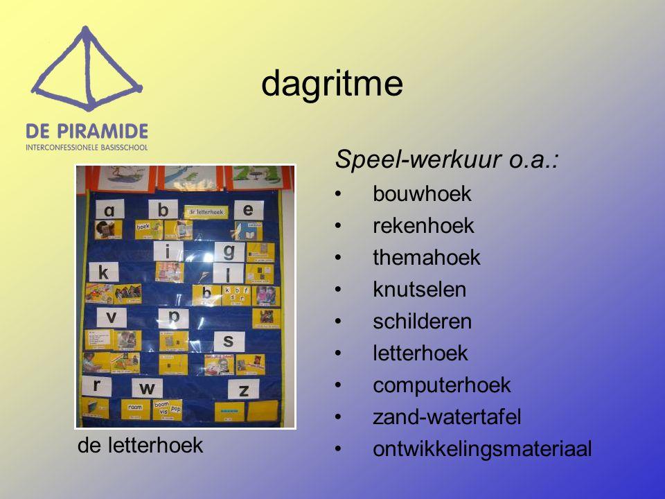Speel-werkuur o.a.: bouwhoek rekenhoek themahoek knutselen schilderen letterhoek computerhoek zand-watertafel ontwikkelingsmateriaal dagritme de letterhoek