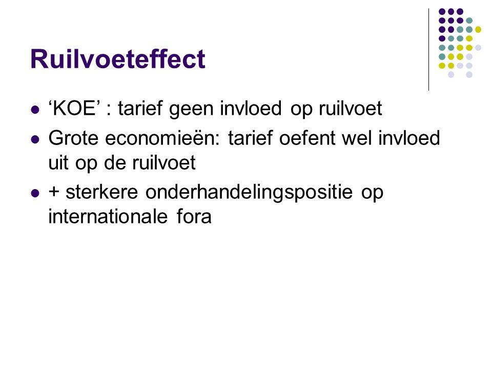 Welvaartseffecten Consumentensurplus +WT'FG Producentensurplus -WT'EJ Overheid-IEFH-LIHM Saldo handelscreatie +JEI+HFG handelsdeviatie-LIHM