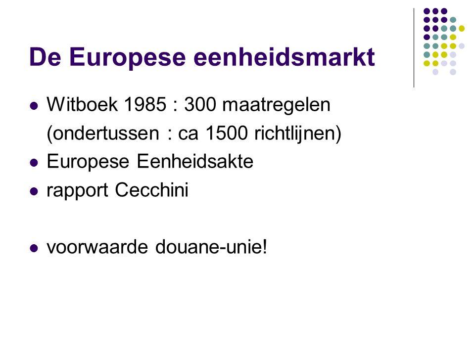 Indirecte effecten eenheidsmarkt Cf indirecte effecten douane-unie Toename concurrentie + benutting schaalvoordelen: 1e fase: verwatering marktaandeel
