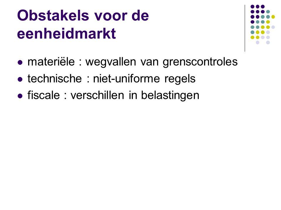 De Europese eenheidsmarkt Witboek 1985 : 300 maatregelen (ondertussen : ca 1500 richtlijnen) Europese Eenheidsakte rapport Cecchini voorwaarde douane-