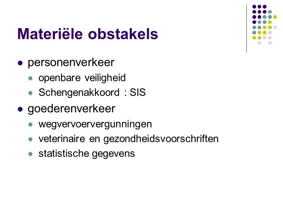 Obstakels voor de eenheidmarkt materiële : wegvallen van grenscontroles technische : niet-uniforme regels fiscale : verschillen in belastingen