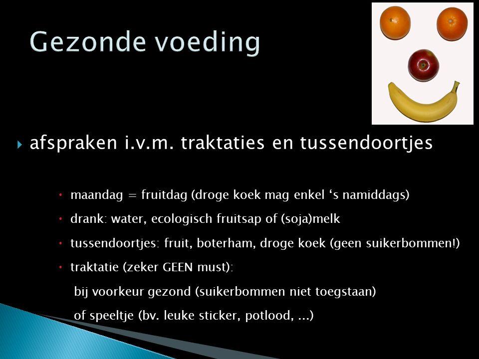  afspraken i.v.m. traktaties en tussendoortjes  maandag = fruitdag (droge koek mag enkel 's namiddags)  drank: water, ecologisch fruitsap of (soja)