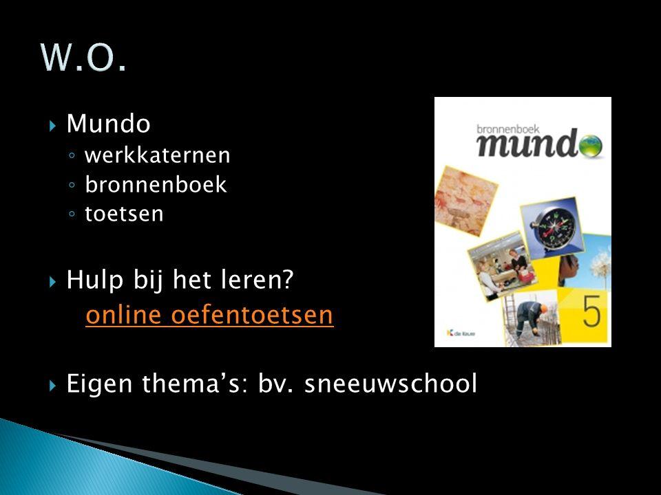  Mundo ◦ werkkaternen ◦ bronnenboek ◦ toetsen  Hulp bij het leren? online oefentoetsen  Eigen thema's: bv. sneeuwschool