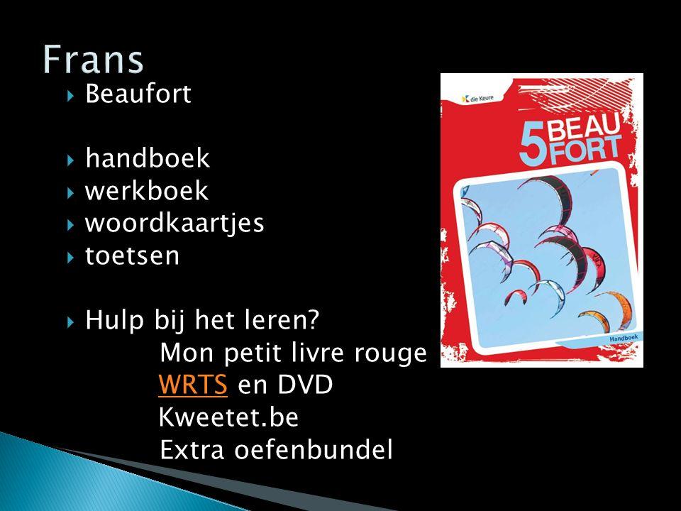  Beaufort  handboek  werkboek  woordkaartjes  toetsen  Hulp bij het leren? Mon petit livre rouge WRTS en DVDWRTS Kweetet.be Extra oefenbundel