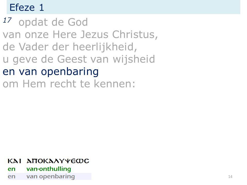 Efeze 1 17 opdat de God van onze Here Jezus Christus, de Vader der heerlijkheid, u geve de Geest van wijsheid en van openbaring om Hem recht te kennen: 14