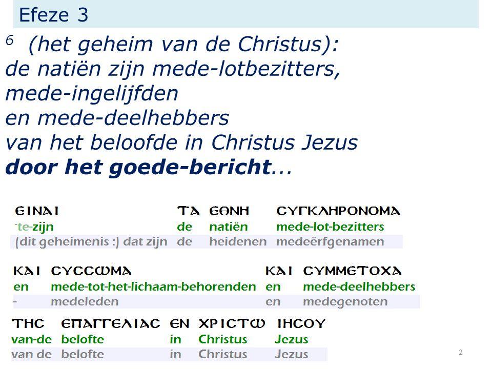 Efeze 3 6 (het geheim van de Christus): de natiën zijn mede-lotbezitters, mede-ingelijfden en mede-deelhebbers van het beloofde in Christus Jezus door het goede-bericht...