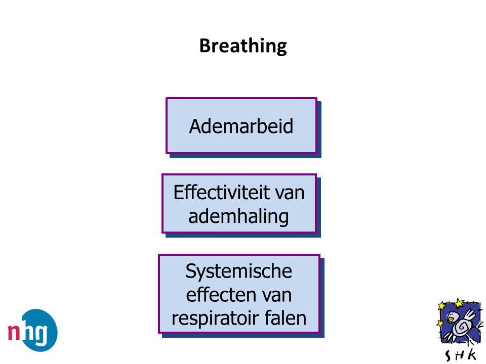 Breathing Ademarbeid Effectiviteit van ademhaling Systemische effecten van respiratoir falen