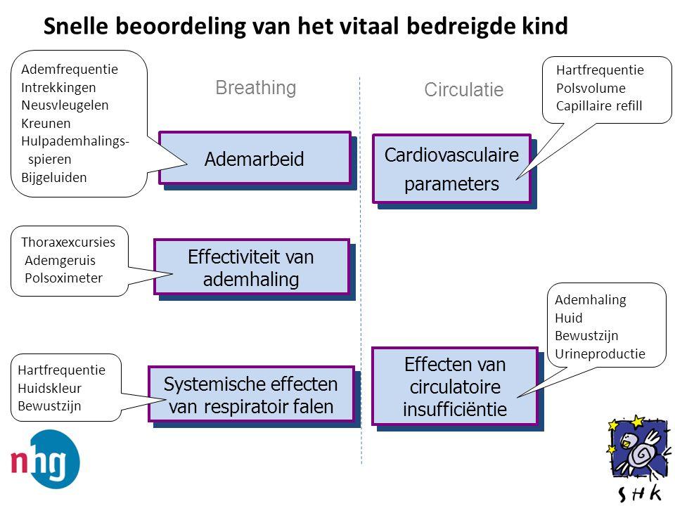 Snelle beoordeling van het vitaal bedreigde kind Ademarbeid Effectiviteit van ademhaling Systemische effecten van respiratoir falen Hartfrequentie Hui
