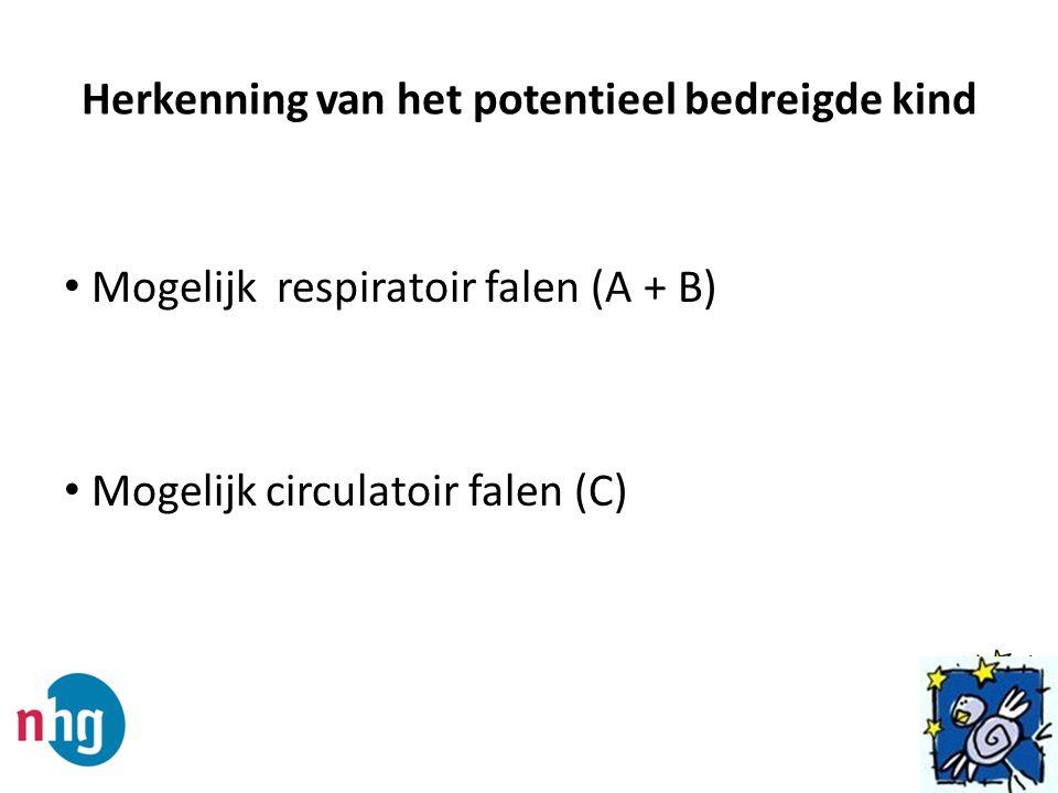 Herkenning van het potentieel bedreigde kind Mogelijk respiratoir falen (A + B) Mogelijk circulatoir falen (C)