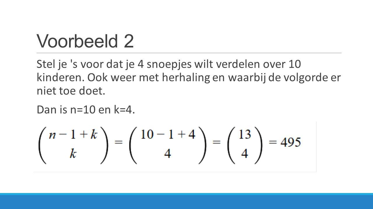 Oefening 2 Een onderwijzer moet 3 potloden, 2 linialen, 7 vulpennen verdelen in een klas van 12 leerlingen.