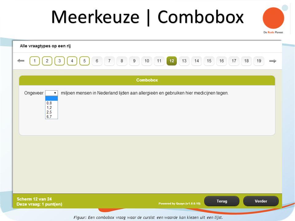 Figuur: Een combobox vraag waar de cursist een waarde kan kiezen uit een lijst.