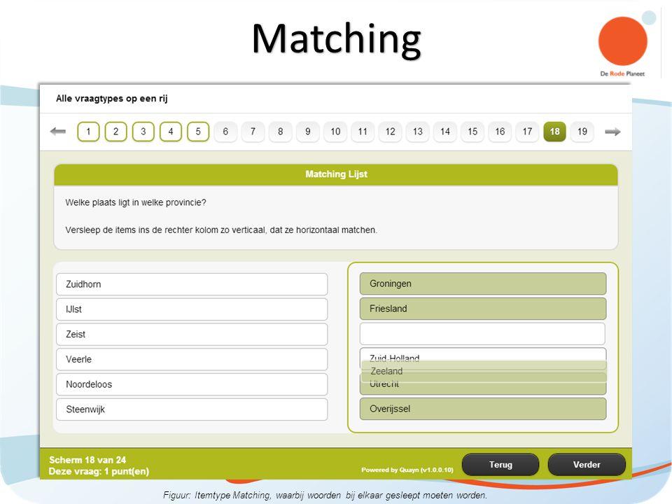 Figuur: Itemtype Matching, waarbij woorden bij elkaar gesleept moeten worden. Matching