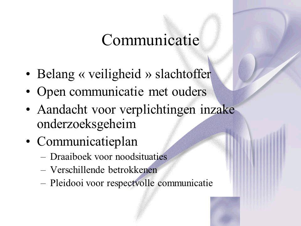Communicatie Belang « veiligheid » slachtoffer Open communicatie met ouders Aandacht voor verplichtingen inzake onderzoeksgeheim Communicatieplan –Dra