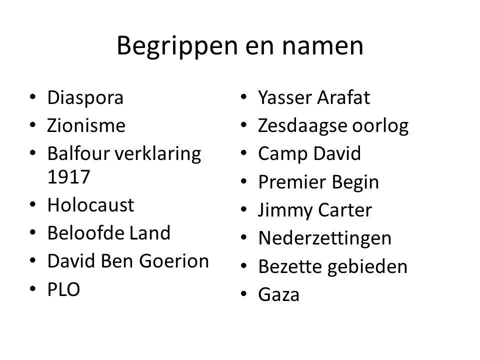 Begrippen en namen Diaspora Zionisme Balfour verklaring 1917 Holocaust Beloofde Land David Ben Goerion PLO Yasser Arafat Zesdaagse oorlog Camp David Premier Begin Jimmy Carter Nederzettingen Bezette gebieden Gaza