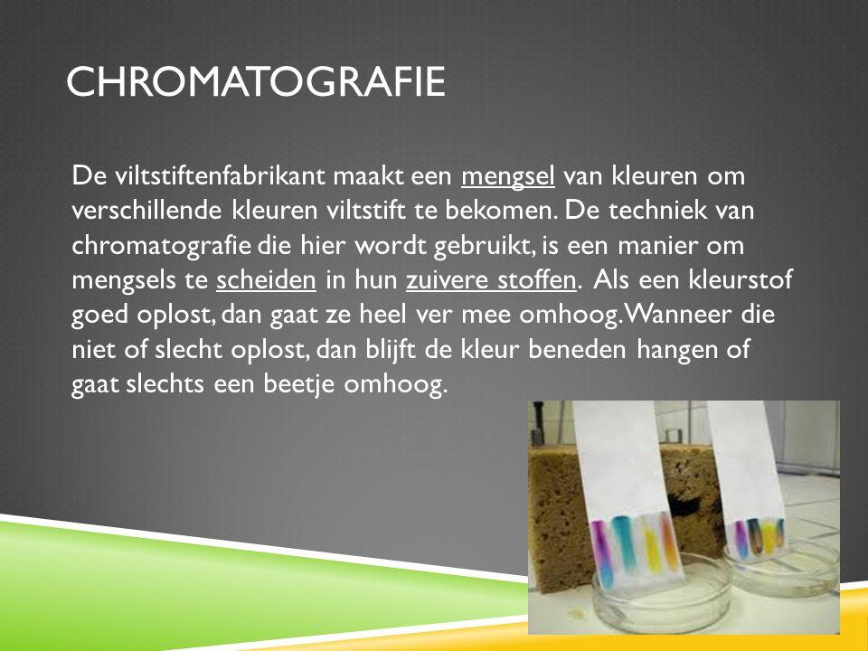CHROMATOGRAFIE De viltstiftenfabrikant maakt een mengsel van kleuren om verschillende kleuren viltstift te bekomen.